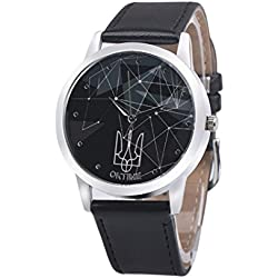 WINWINTOM Leather Band Analog Quartz Wrist Watch Black