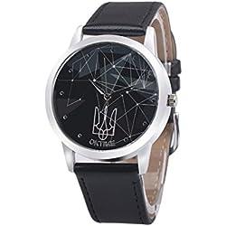 WINWINTOM Leather Band Analog Quartz Wrist Watch Black