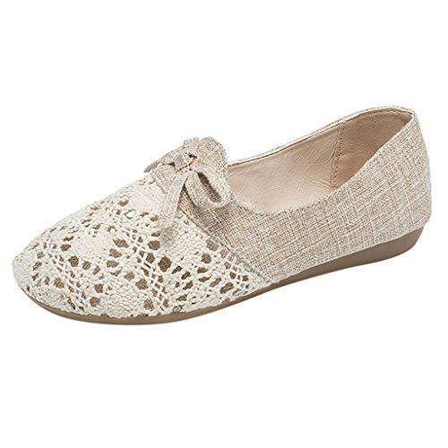 Dorical Damen Linen Classics Niedrige Hausschuhe Seasonal Geschlossene Ballerinas Outdoor Casual Shoes Gr 35-40(Beige,35 (Rabatt Pet Kostüm)