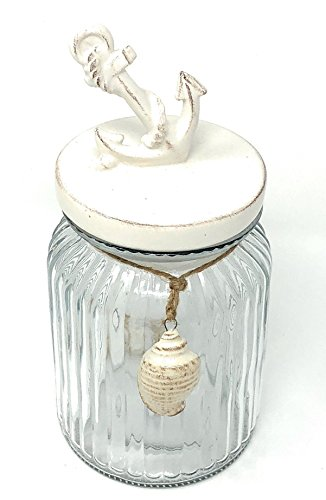 Décoratif Bocal en verre avec couvercle en céramique avec ancre Blanc ou bateau Maritim 24 x 10 cm, Anker, 24 x 10 cm