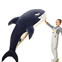 Giant Shark Plush Toy Pillow, Fluffy Stuffed Animals, Bed Sofa Decor Cushion,Kids Children Baby Xmas Gifts, 47.2inch, Blue