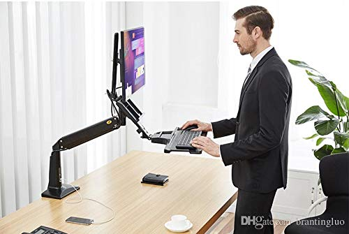 Rife Sit Stand Height Adjustable Standing Desk Workstation for 22''-35'' Computer Riser Monitor and Keyboard Mounts