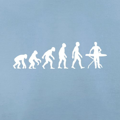Herren T-Shirt - Evolution of Man - Bügeln - 10 Farben Himmelblau