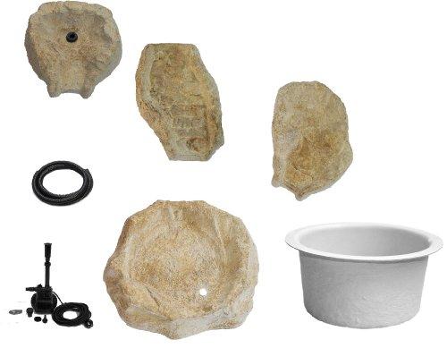 Wasserkaskaden Komplettanlage Komplettset Fulda Fels mit Kaskade, Beige/Braun, 130 x 42 x 50 cm, 5-teilig