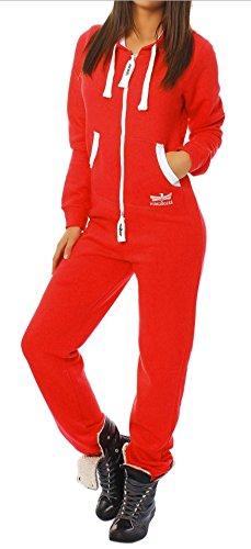 97Y5 Finchgirl Damen Jumpsuit Jogging Anzug Trainingsanzug Overall Rot S