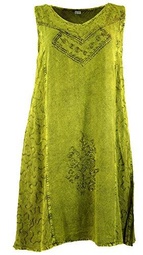 Guru-Shop Besticktes Boho Sommerkleid, Midikleid, Indisches Hippie Kleid in 7/8 Länge, Lemon, Damen, Design 9, Synthetisch, Size:40, Lange & Midi-Kleider Alternative Bekleidung