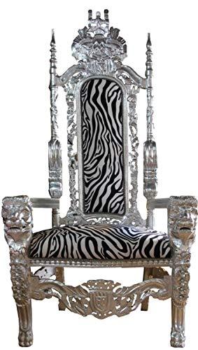 Casa Padrino Barock Thron Sessel Silber/Zebra Königssessel- Hochzeitssessel - Riesensessel