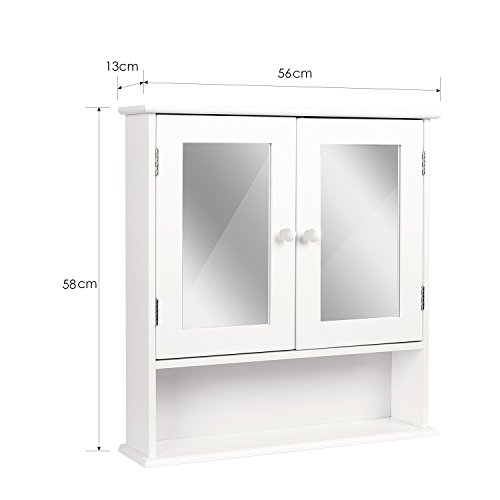 HOMFA Landhaus Spiegelschrank Hängeschrank mit 2 Spiegeltür Wandschrank Badschrank Küchenschrank Medizinschrank Wandboard Regal Weiß 56x13x58cm (Spiegelschrank Weiß) - 2