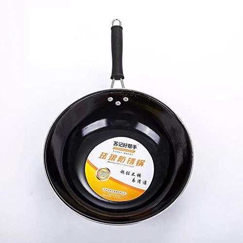 Flat-bottom Non-stick Fry Pan (FRINGANP Bratpfanne Fry Pan Gesunde, Nicht-Beschichteten Topf Herd Flache Runde Base Emaille Topf, Schwarz, 32 cm (Ohne Ohren) Mit Einem Flachen Base)