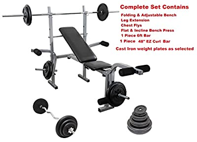 UK Fitness Weight Bench Barbell Curl Bar & Weight Set Cast Iron Complete Home Multi Gym from UK Fitness