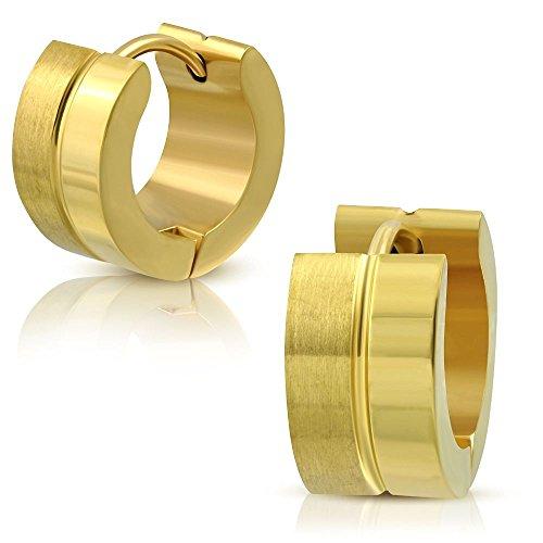 Bungsa Goldene Creolen matt-hochglanzpoliert 7mm - 1 Paar Klappcreolen Edelstahl (Ohrstecker Ohrringe Ohrhänger Huggie Ohrschmuck Ohrklemmen Damen Frauen Herren Mode)