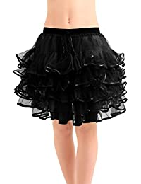 Crazy Chick 5 Layer Adult Women Halloween Tutu Skirts With Ribbon Ballet Dance Wear