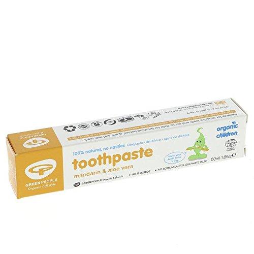 GREEN PEOPLE - Zahnpasta für Kinder Mandarine und Aloe Vera - Fluorid- und zuckerfrei - Besonders zart - Reinigt effektiv Zähne und Zahnfleisch - Vegan - 50 gr (Zahnpasta Empfindlich)