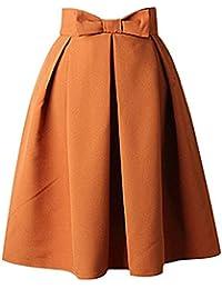 Bestfort Damen Hepburn Kleid Knielange 2018 Hohe Taille Schöne Kleider  Frauen Rock Mode A Linien Rock 066039b08a