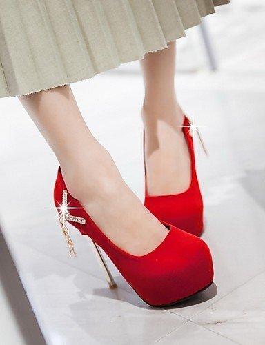 ShangYi Damenschuhe - High Heels - Hochzeit / Büro / Party & Festivität - Kunstleder - Stöckelabsatz - Absätze - Schwarz / Rot / Weiß Red