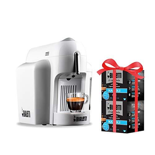 Bialetti Mini Macchina Espresso Alluminio Sistema caffè d\'Italia, White + 32 Capsule Omaggio, 1200 W, Bianco