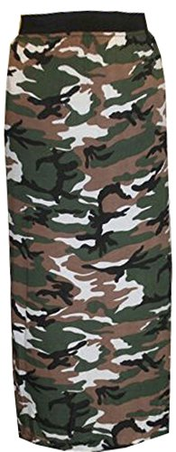 GRANDE TAILLE FEMMES NEUF JERSEY JUPE LONGUE GYPSY ROBE EXTENSIBLE GB 16-26 Motif camouflage armée