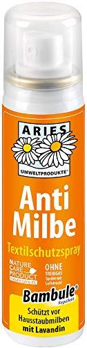ARIES Anti Milbe Textilschutzspray - Milbenspray für Matratzen, Polster, Bettwäsche, Textilien und Teppich - 50 ml