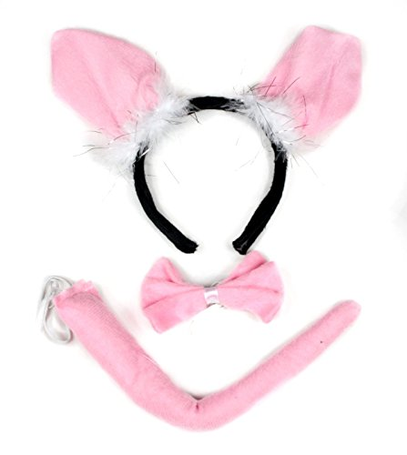 Little Pig Headband Bowtie Tail 3pc Costume for Child Halloween or Party Use ()