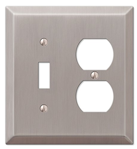 Amerelle 163TDBN Century Brushed Nickel Steel 1 Toggle 1 Duplex Wallplate by Amerelle -