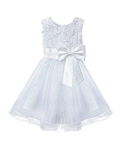 Live it style it, abito da damigella d'onore, adatto anche per festa di battesimo, in pizzo, floreale, decorato con fiocco, per bambine  white 7-8 anni