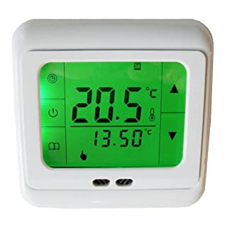Aubig Digital Weekly Programmable Touchscreen Thermostat Underfloor Floor Heating Room Thermostat LCD Green Backlight for Electric Heating System 16A