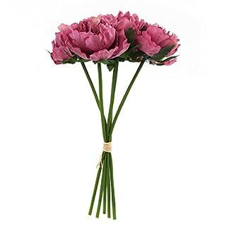ABBQT, Flor de peonía Artificial de Seda, Tallo Largo, Flores de plástico Falsas para el hogar, jardín, Fiesta, Boda, Ramo de Mesa, decoración, 1 Paquete de 5 (Cristal Morado)