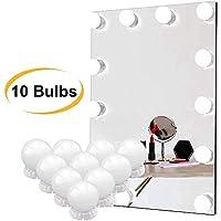 مرآة مكياج مع مصابيح ليد عدد 10 بنمط هوليود ستايل مع مفتاح التعتيم ومحول طاقة - يمكن وضعها على طاولة التزيين