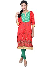 Indiwagon Art Silk Red Color Kurti