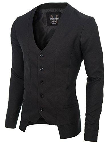 MODERNO - Slim Fit Veste Homme Gilet (MOD16130V) Noir