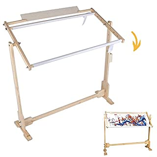 Cross Stitch Frame Stand, Adjustable Wooden Frame Embroidery Stand Cross Stitch Floor Needlework Stand with 5 Adopted Height Level, 14CT