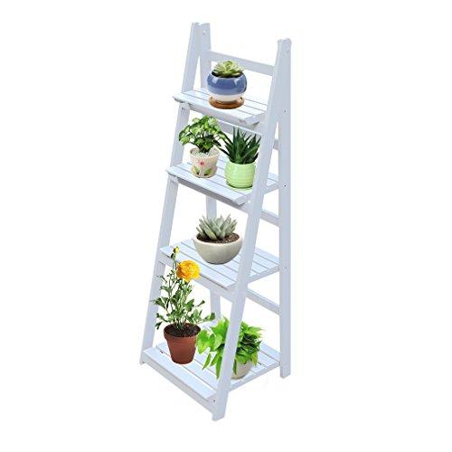 Homgrace scaffale porta fiori pieghevole a 4 ripiani, mensola scala in legno per display fiori cornici ornamenti, scaffale per fiore per balcone giardino cortile, bianco
