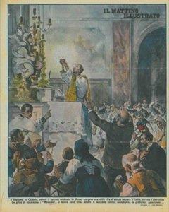 A Rogliano, in Calabria, mentre il parroco celebrava la Messa, scorgeva una stilla viva di sangue bagnare il Calice, durante l'Elevazione. Un grido di commozione : 'Miracolo!' si levava dalla folla,
