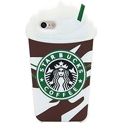 Housse de Couverture de Silicone Starbucks Ice Cream Crème Glacée Coque Etui 3D Skin Cover pour Samsung Galaxy S6 Brun - Couleur Café