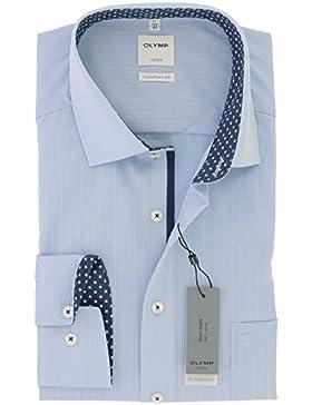 OLYMP Luxor comfort fit Hemd Langarm New Kent Kragen Muster hellblau