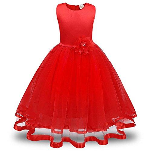 ❤️Kobay Blume Mädchen Prinzessin Brautjungfer Festzug Tutu Tüll-Kleid Party Hochzeit Kleid (Rot, 140 / 6 Jahr)