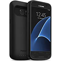 PowerBear Funda de Batería Compatible para Samsung Galaxy S7 [4,500 MAh] Cargador de Batería Externo de Alta Capacidad para el Galaxy S7 (hasta 1.5X) - Negro [24 Meses De Garantía]