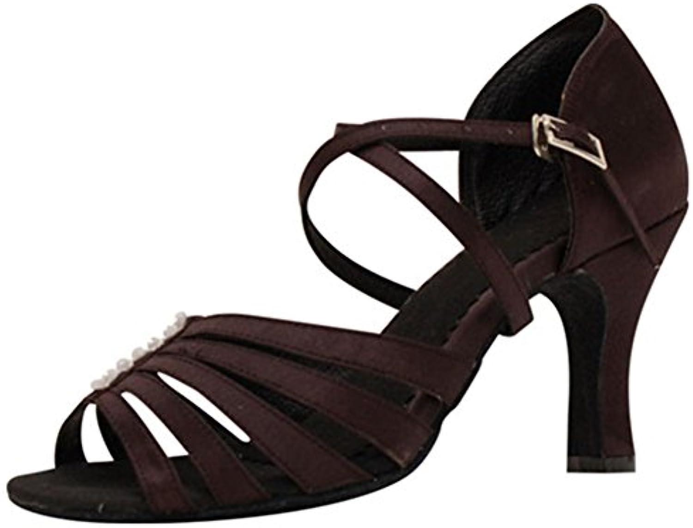 GUOSHIJITUAN Frauen Brown Latein TanzschuheLeise Unten Satin High Heels Dancing Schuhe Tango Salsa Soziale Tanzschuhe