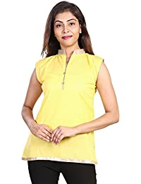 Fashion Store Women's Hand Embroidered Chicken Work Cotton Cambric Kurti (Yellow , X-Large)