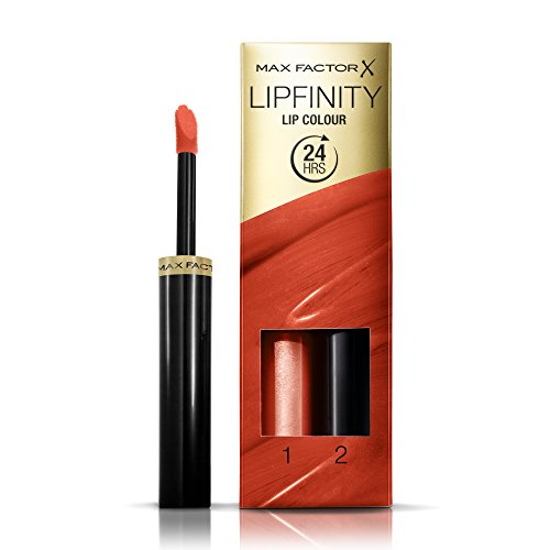 Max Factor Lipfinity Lip Colour Charming 140 - Kussechter Lippenstift mit 24h Halt ohne auszutrocknen, mit intensiver Farbabgabe, präzisem Applikator & intensiv pflegendem Gloss-Top Coat