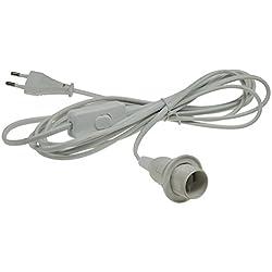 Schraub Lampenfassung mit 3,40m Kabel und Schalter I E14 Sockel I Schnur-Schalter I weiß