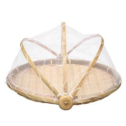 CCChaRLes Bambus-Brot-Korb Lagerung Display Korb Abdeckung Netz Staubdichte Gerichte Obst Tablett - 30Cm (Obst Gerichte,)