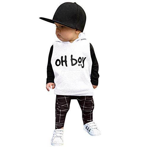 Likecrazy 2 Stück Outfits Kleinkind Kind Bekleidungssets Baby Kleidung Set Jungen Buchstaben gedruckt Langarm Sweatshirt + Pants Outfits Set Hoodie