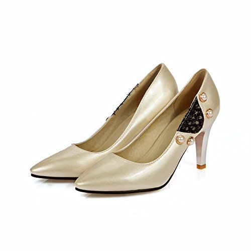 Ziehen Pumps Damen Voguezone009 Schuhe Cremefarben Material Auf Absatz Spitz Weiches Hoher Zehe HntFqw6