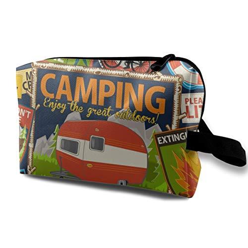 Kosmetiktasche für Geldbeutel, Die Do's and Don'ts of Camping ~ Navy_52, Oxford Stoff Bunte Tasche Mini Travel -