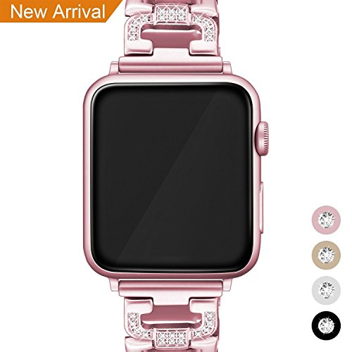 Für Apple Watch Metall Armband 38mm, Mornex Edelstahl Armbänder Ersatz Zubehör für Iwatch, Gliederarmband mit Kristall luxuriöse Edition,universelles Design für Apple Watch Series 3, 2 und 1, Rosegold Hohe Temperaturen Führen