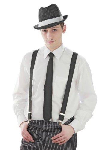 20er Jahre Mafia Hosenträger Schwarz Kostüm Fasching schwarze Hosen Träger (Hosenträger Kostüm)