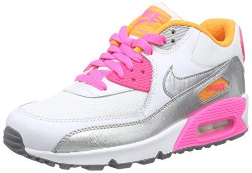 Nike Air Max 90 Cl (Nike Damen AIR MAX 90 MESH (GS) Sneakers, Weiß (101 WHITE/MTLLC SLVR-PNK PW-CL GRY), 38 EU)