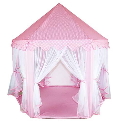 MultiWare Tente de Jeu pour Enfant Princesse Tente Grand Château de Princesse Prince d'Hexagones Cadeau pour Garçons Filles Rose
