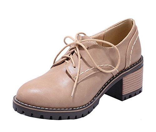 AgooLar Femme PU Cuir Lacet à Talon Correct Couleur Unie Chaussures Légeres Beige